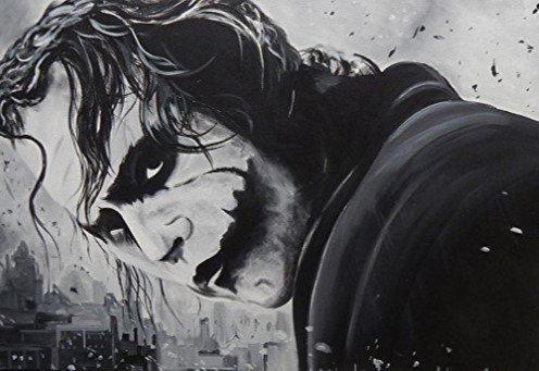 Buyartforless The Joker by Ed Capeau 36x24 Art Print Poster The Dark Knight Black and White Joker Heath Ledger