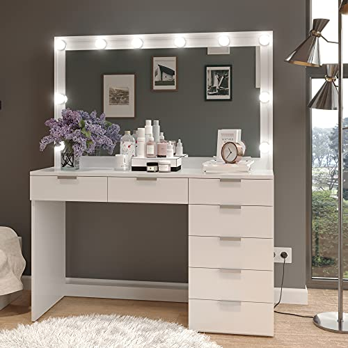 Boahaus Diana Larga 47' Makeup Vanity Dressing Table, Lighted with 10 LED bulbs, 7 Drawers, White