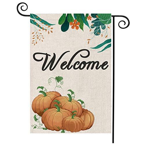 Diateklity Welcome Pumpkins Garden Flag Vertical Double Sided 12.5 x 18 Inch Fall Burlap Yard Outdoor Decor