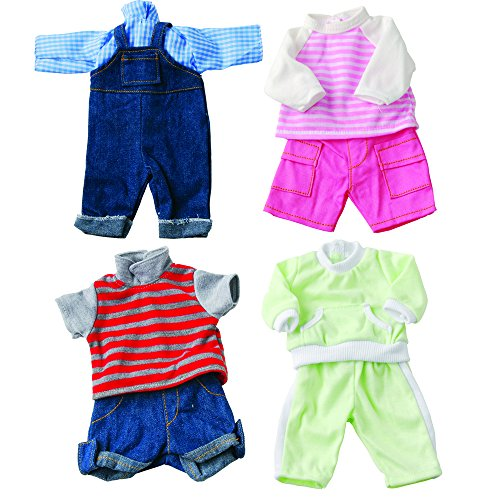 Constructive Playthings Washable Clothing for 12-14 Inch Baby Dolls, Set of 4 Outfits