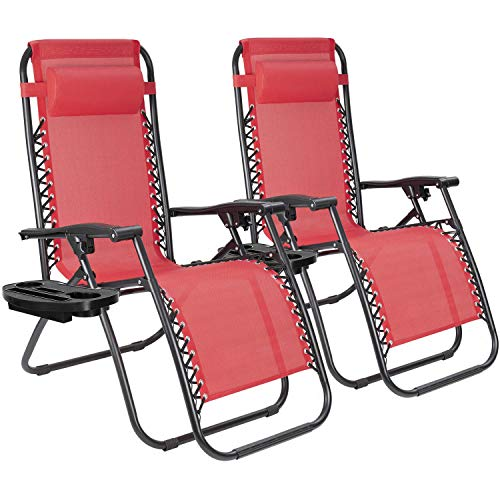 JUMMICO Zero Gravity Chair Patio Outdoor Adjustable Reclining Folding Chair Lawn Lounge Chair for Deck Beach Yard and Beach with Pillows Set of 2 (Red)