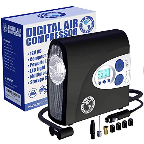 [PI AUTO] AIR COMPRESSOR Portable Tire Inflator with Pressure Gauge and LED Light for Cars and Bikes. 12V DC Air Compressor Tire Inflator for car, bicycles, balls and more. Turns off automatically.