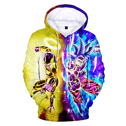 Cartoon Hoodie Boys Girls Dragon Ball Z Super Saiyan Goku Frieza 3D Print Fashion Hooded Sweatshirt Pullover Pocket Blouse Top,A,XL