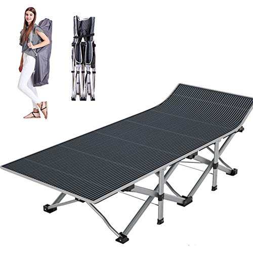 NAIZEA Folding Camping Bed Camping Cots for Adults, Heavy Duty Lightweight Portable Foldable Outdoor Bed with Carry Bag, Military Cot for Camping Outdoors Office Use (Upgraded Without pad)