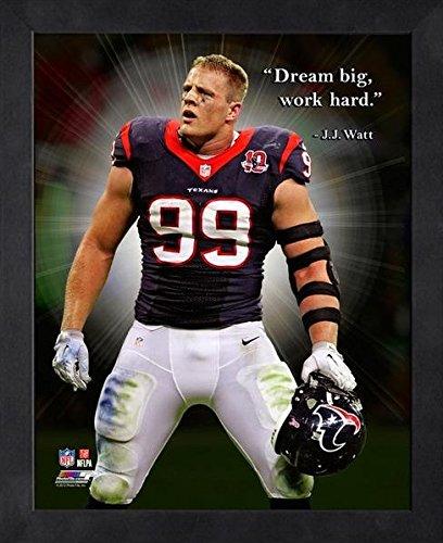 JJ Watt Houston Texans ProQuotes Photo (Size: 9' x 11') Framed