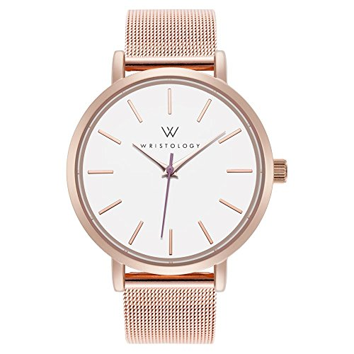 WRISTOLOGY Olivia Womens Watch Lines Rose Gold Boyfriend Ladies Stainless Steel Metal Mesh Strap Band