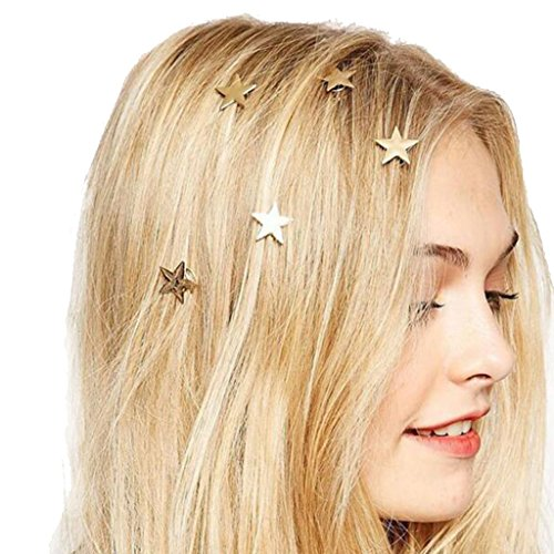 5pcs Alloy Star Style Fashion Popular Golden Five-pointed Star Spring Clip