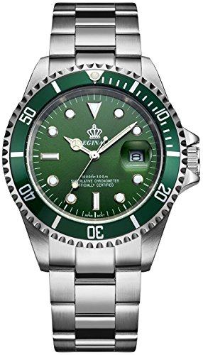 Mens Luxury Watches Rotatable Bezel Mineral Glass Luminous Hand Quartz Silver Tone Stainless Steel Watch (Green)