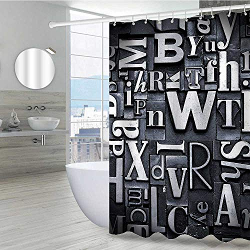 Interestlee Old Newspaper Decor Shower Curtains in Bath 36' W x 72' L, Selection of Random Letterpress Type Characters Fonts Print Image Machine Washable Privacy Curtain, Black and White