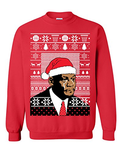 Unisex Jordan Crying Meme Ugly Christmas Sweater Funny Sweatshirt (Medium) Red
