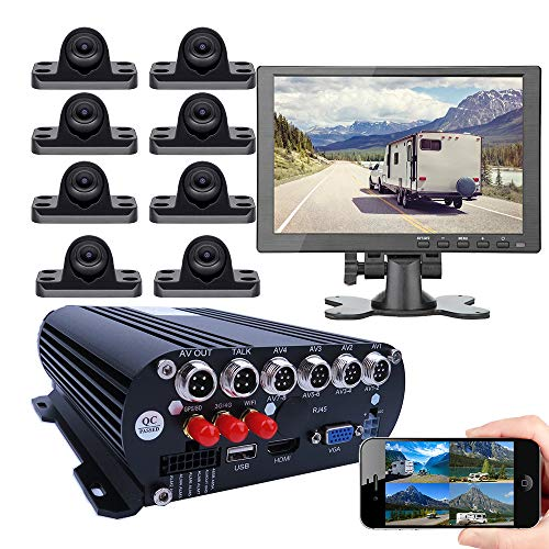 JOINLGO 8-CH Mobile DVR Backup Camera System 10' HDMI/VGA Remote Monitor on PC Phone GPS WiFi 4G 1080P AHD Vehicle Car DVR MDVR Video Recorder with Mini Large View Angle Car Cameras for Truck/RV/Bus