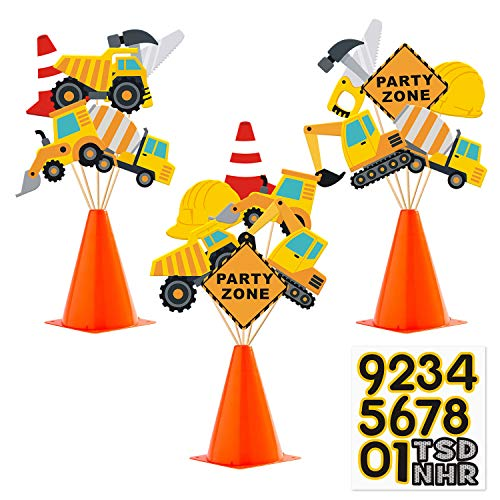 Faisichocalato Construction Party Centerpiece Dump Truck Car Cone Table Topper Decoration Zone Birthday Party Supplies
