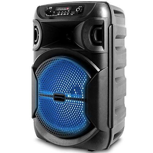 Technical Pro 8 Inch Portable 500 watts Bluetooth Speaker with Woofer & Tweeter, Festival PA LED Speaker with Bluetooth/USB Card, True Wireless Stereo, 30 Feet Bluetooth Range