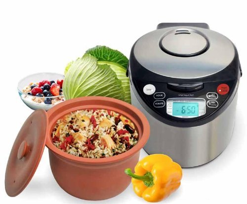 VitaClay VM7900-8 Smart Organic Multi-Cooker/Rice Cooker, Brushed Stainless Steel and Black by VitaClay