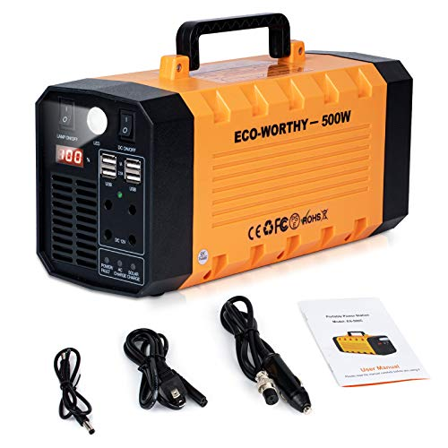 DC HOUSE 500Watt Portable Power Station, 288Wh 78000mAh Solar Generator, Emergency Lithium Battery Backup, UPS Power Supply with Flashlight Charged by Solar/AC Outlet/Car for CPAP Camping Travel