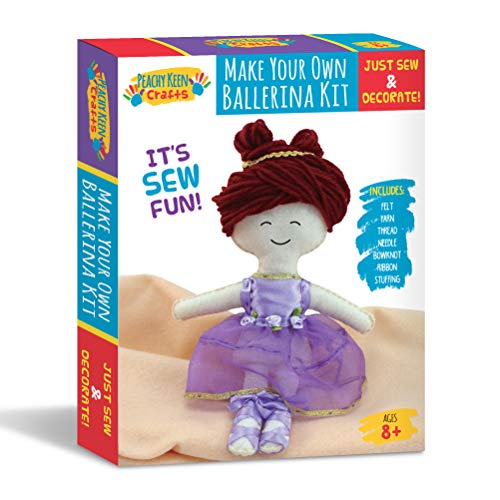 Ballerina Doll Making Kit - Stitch & Sew Your Own Stuffed Doll - DIY Craft Set for Kids