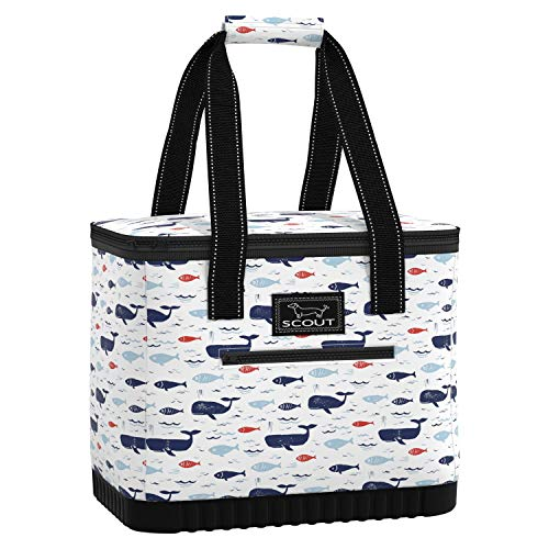 SCOUT The Stiff One Cooler Bag, Insulated, Collapsible, Leak Proof, Lightweight, and Portable Soft Cooler Beach Bag with Hard Bottom in All is Whale Pattern (Multiple Patterns Available)