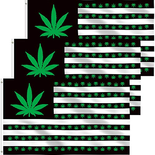 3 Pieces Marijuana Leaf Flags Polyester Weed Banner Fabric Pot Leaf Flag with Brass Grommets for Marijuana Party Decor Supplies, 3 x 5 Foot