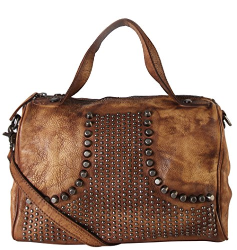 Rimen & Co. Genuine Leather Studded Design Décor Speedy Bag Accented with Removable Strap 150355