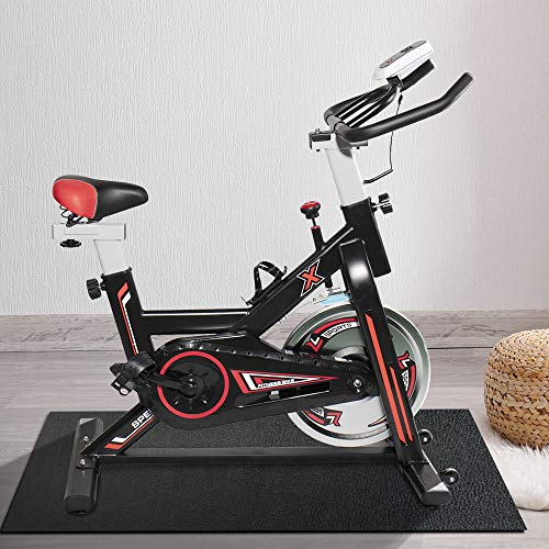 HCROMAT Exercise Bike, Indoor Fitness Bike & Studio Cycle Exercise Machines with Adjustable Seat Handle and LCD Exercise Monitor for Cardio Training/Fat Loss (Black)