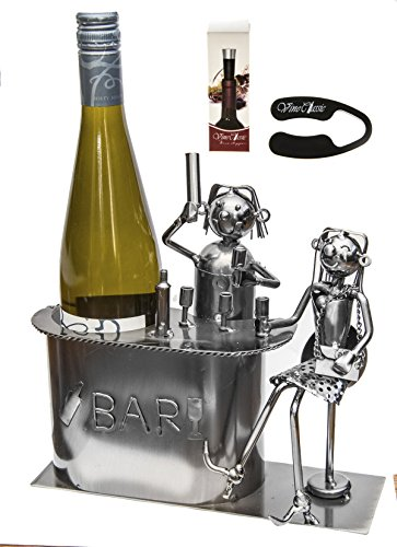 Fabulous Bartender Serving a Girl Wine At the Wine Stand , Wine Bottle Holder Plus a Wine Foil Cutter and a Wine Bottle Vacuum Stopper