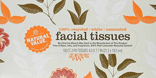 Natural Value 100% Recycled Facial Tissue, 100 2-Ply Sheets Per Box (Pack of 30)
