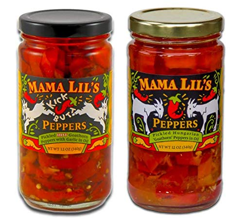 Mama Lil's Kickbutt and Mild Goathorn Peppers, 12 Ounce (2 Jars)