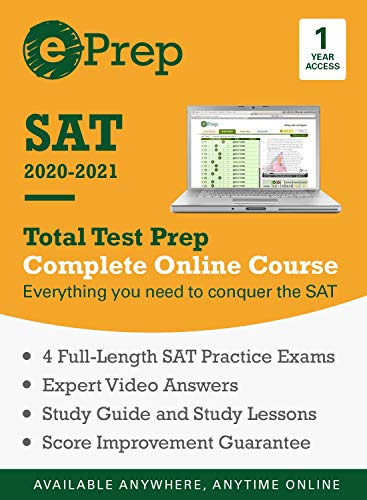 ePrep SAT 2020 - 2021 | Premium Online Course and Study Guide | 1 Year | 4 Full-Length Exams + Video Explanations + Quizzes + Strategies [Online Code]