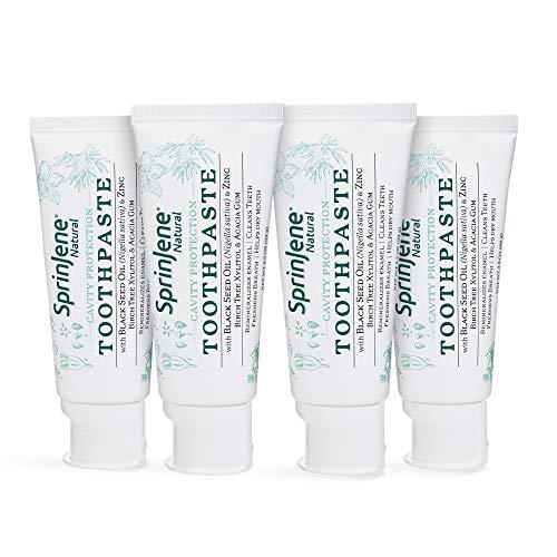Natural 4-Pack Toothpaste with Fluoride for Cavity Protection, SLS-Free Natural Toothpaste with Zero Sugar, Vegan, Gluten-Free, 3.5 oz - SprinJene