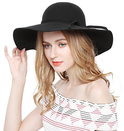 Lovful Women 100% Wool Wide Brim Cloche Fedora Floppy hat Cap,Black,One Size