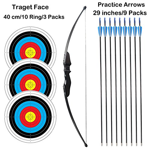 SinoArt 54' Long Bow for Right Handed 30 LBs Draw Weight Archery Bow Shooting LARP Hunting Game with 9 Arrows and 3 Target Faces