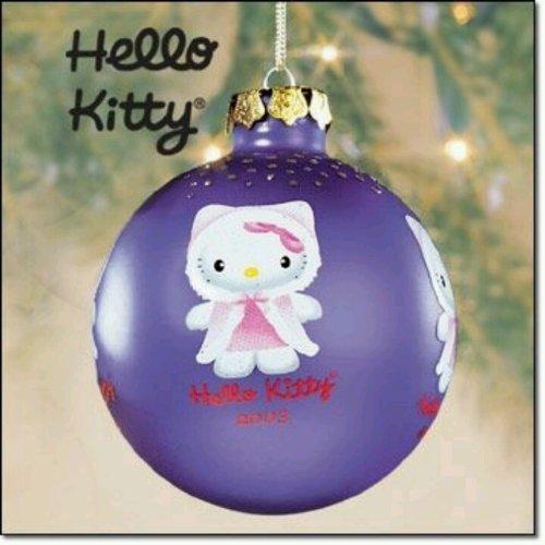 Hello Kitty 2003 Purple Glass Christmas Tree Ornament (3' Wide) in the Original Store Display Box