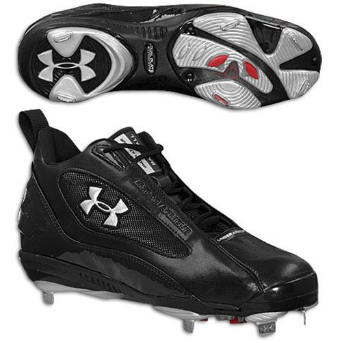 Under Armour Clutch Metal Mid ST Mens Baseball Cleats (10.5, Black/Black)