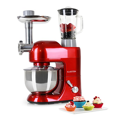 KLARSTEIN Lucia Rossa Kitchen Machine • Multi-function Stand Mixer • 1300 Watts • 5.3 qt Bowl • 1.3 qt Mixing Glass • Meat Grinder • Pasta Maker • Blender • Red