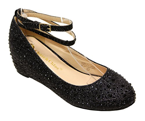 Chase & Chloe Bobby-12 Women's Hidden Heel Rhinestone Bead Glitter Upper Round Toe Double Ankle Straps Pump Shoes Black 5.5