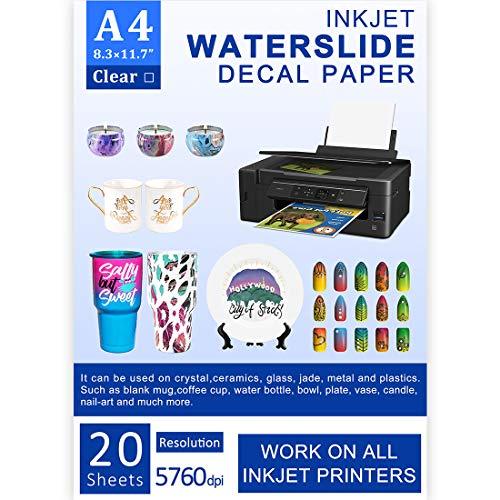 Water Slide Decal Paper Inkjet 20 Sheets A4 Size Premium Water Slide Transfer Paper Clear Transparent Printable Waterslide Paper for Tumblers, Mugs, Glasses DIY
