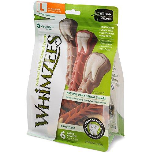 Whimzees Natural Grain Free Daily Dental Long Lasting Dog Treats, Brushzees, Large, Bag of 6