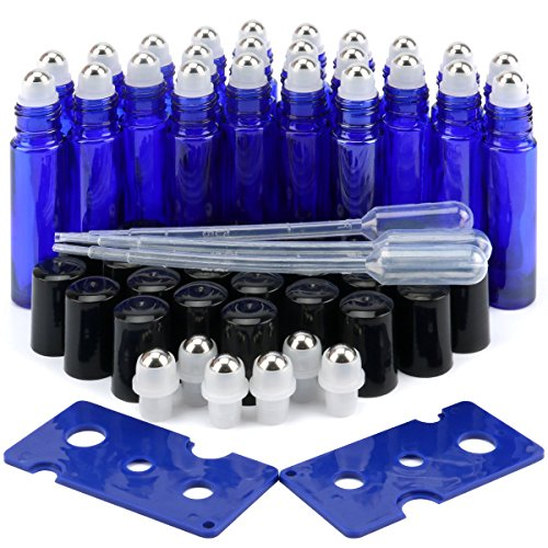 Glass Roller Bottles, 24 Pack 10 ml Cobalt Blue Essential Oil Roller Bottles with Stainless Steel Roller Balls (3 Dropper, 6 Extra Roller Balls, 2 Bottle Opener)
