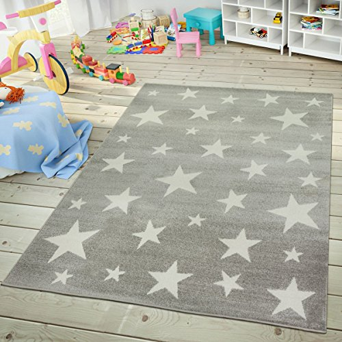 Paco Home Kids Rug with Star for Children's Room Starry Sky Design, Size:6'7' x 9'2', Colour:Grey