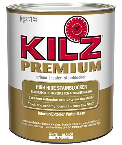 KILZ Premium High-Hide Stain Blocking Interior/Exterior Latex Primer/Sealer, White, 1 quart