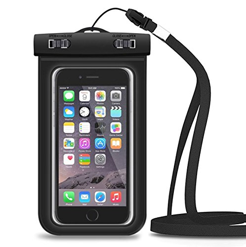 Waterproof Case, Splaks Universal Durable Underwater Bag with Armband and 3.5mm Earphone Jack for Smartphones, 3-in-1 Touch Responsive Transparent Windows, IPX8 Certified to 100 Feet
