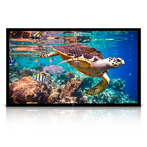 Pyle 120' Projector Screen Matte White Home Theater TV Wall Mounted Fixed Flat w/ 16:9 Aspect Ratio Full HD Projection - Easy Mount Ideal for Office Presentation PRJTPFL122 Black