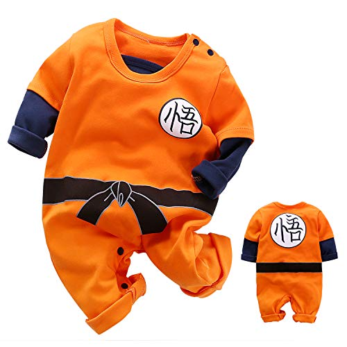 YFYBaby Cute Goku Newborn Baby Boys Girls Clothes Infant Toddler Long Sleeve Romper Jumpsuit Outfits, Orange1, 6-9 Months