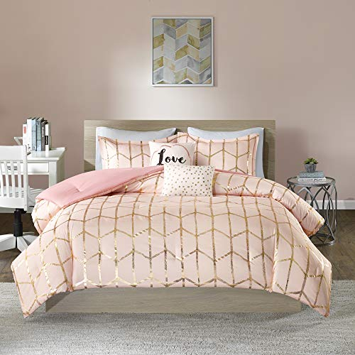 Intelligent Design Raina Comforter Set Metallic Print Geometric Design, Modern Trendy All Season Bedding Set, Matching Sham, Decorative Pillow, Blush/Gold, Full/Queen, 5 Piece
