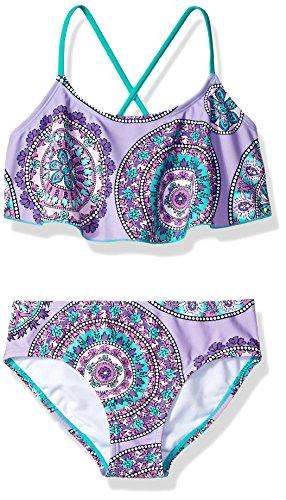 Kanu Surf Girls' Little Alania Flounce Bikini Beach Sport 2 Piece Swimsuit, Jasmine Purple, 4