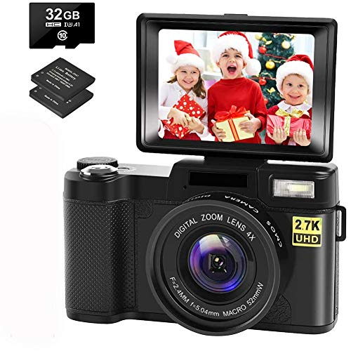 Digital Camera Vlogging Camera with YouTube 30MP Full HD 2.7K Vlog Camera with Flip Screen 180° Rotation with 32GB Memory Card and 2 Batteries