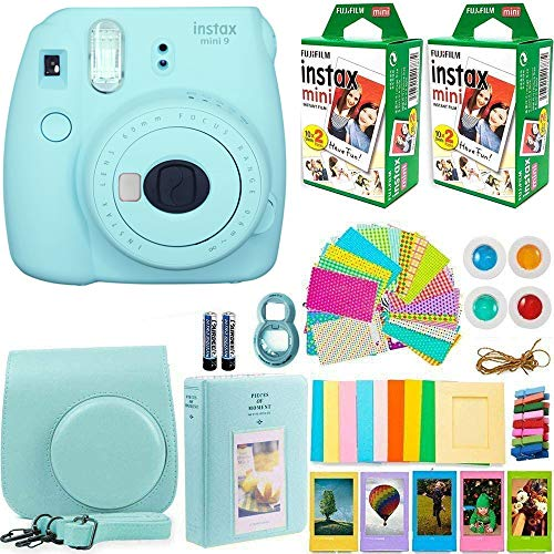FujiFilm Instax Mini 9 Instant Camera + Fujifilm Instax Mini Film (40 Sheets) Bundle with Deals Number One Accessories Including Carrying Case, Color Filters, Photo Album + More (Ice Blue)