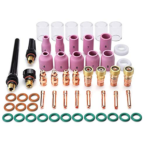AIC WELD 55PCS TIG Welding Torch Accessories Kit Collets Body Glass Cup Alumina Nozzle Stubby Gas Lens #10 Pyrex Cup Kit for TIG WP-17/18/26 (55-PCS)