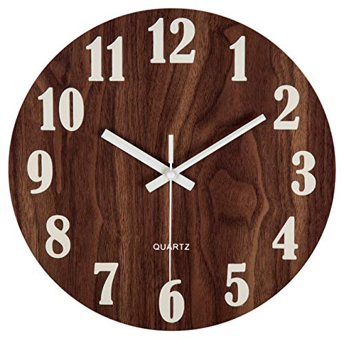 Jomparis 12' Night Light Function Wooden Round Wall Clock Vintage Rustic Country Tuscan Style for Kitchen Bedroom Office Home Silent & Non-Ticking Large Numbers Battery Operated Indoor Clocks