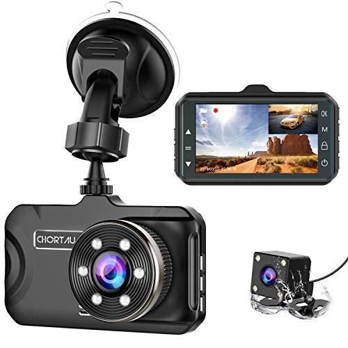Dash Cam Front and Rear CHORTAU Dual Dash Cam 3 inch Dashboard Camera Full HD 170° Wide Angle Backup Camera with Night Vision WDR G-Sensor Parking Monitor Loop Recording Motion Detection